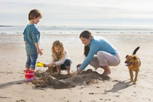 Family on holiday on the beach in Cornwall